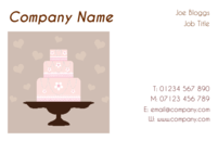 Caterer business cards with an image of a cake in the template.