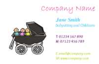 Childcare business card templates. Can be used by Babysitters or people in childcare. This business card contains a pram with a few children sat in it!