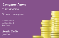 An abstract business card design commonly used by accountants showing a stack of coins.