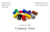 Colourful sewing thread reels make an attractive picture on this business card. This design would be appropriate for tailors, someone dealing with clothes alterations or working in the fashion world.