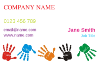 Children's hand prints on these business card templates will certainly let your customers know that you deal with children, either as a teacher or as an owner of a nursery or a playschool.