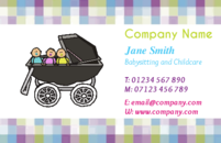 A pretty chequered business card template picturing three babies in a pram. This design would be something a babysitter or someone in childcare would like on their cards.