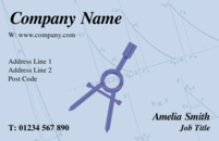 Business Cards for architects and mathematicians showing a Compass.