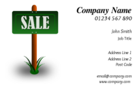 The image of the sale sign on the business card template, means more money for your property professionals.