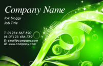 A business card template with a background design.