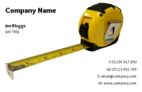 A simple business card template showing a measuring tape is ideal for a handyman, builder or carpenter.