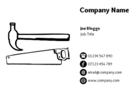 A simple business card design showing a saw and hammer suitable for a carpenter, handyman or builder.
