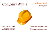 Builder business card templates with a hard hat.