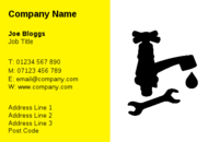 An ideal business card design for a handy man or plumber featuring a dripping tap and spanner.