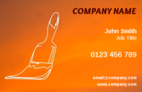The combination of the transparent paint brush and the orange background on this business card template gives the impression that the brush is actually painting the background of the business card. Handymen, renovators, builders and carpenters will make an excellent impression on their customers with these business cards.