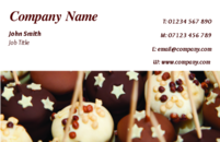 This business card design with white and brown chocolate sweets is a delectable image for your business. It can be used by a patiserrie shop or caterers.