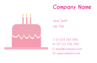 Business card designs with an image of cake, suitable for caterers.