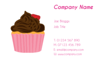 Designs of business card templates for caterers showing a cupcake with chocolate icing.