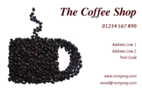 Coffee shop owners, or other food, catering, events and shopping people should get their motto across clearly by using these business cards with an abstract image of a coffee cup on the business card design.