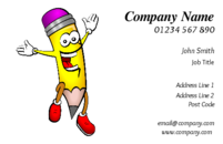 This business card shows an animated happy pencil. The design can be used by anyone who needs a business card related to education, tutoring or teaching children.