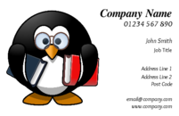A penguin carrying the books on the business cards template. He certainly looks serious, and anyone you give this business card to will also feel that you are a serious teacher, tutor or trainer.