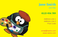 This template  would make lovely business cards for people in teaching, especially art teachers. The business card template is unique, in that it has a penguin using an art palette. This business card design would certainly make your business stand out