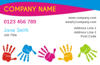 Colourful hand prints on this business card template make an attractive design perhaps for an art tutor or if you provide children's activities.