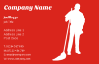 Business card templates for cleaners. The image on the business card is a that of a person holding a mop.