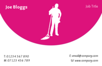 Man with a mop against the pink background on this business card is clearly a design for a cleaning company or cleaner.
