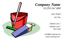 Ideal business card design for a cleaning company or cleaner portraying typical cleaning equipment like a vacuum cleaner, brush, bucket.