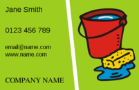 Lovely bucket and sponge sitting on a green background will make excellent business cards for cleaners promoting their business.