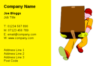Hopefully the box that this man is carrying is not to heavy. Never the less, this business card design will leave your customers under no doubt, that you as a courier, mover or taxi driver, will work just hard for them, as this man carrying the box is working for these business cards.