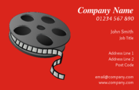 Film reels on this business card design are suitable for film and photography professionals looking for business cards.