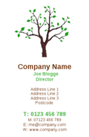 A lovely picture of a tree. These business cards will certainly help Gardeners or landscapers attract new customers. It can also be seen as a money tree for financial institutions.
