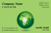 Green Business with a globe which can be used by travel agencies, anybody with a global business or an eco-friendly business.