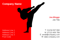This business card design shows a man in a martial arts pose and can be used by a martial arts instructor.