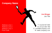 The man with playing with a racket on this business card design will be ideal for a tennis or squash instructor.