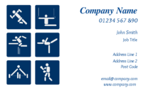 A perfect business card design for sports instructors, leisure centres or gyms to advertise training in or facilities for sports activities such as athletics and gymnastics.