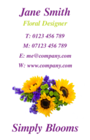 Business cards for florists and gardeners. These business card templates have an image of a lovely bunch of flowers.