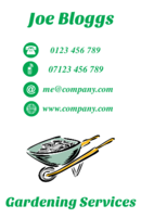 Templates for business cards with a wheel barrow. Can be used by gardeners, landscapers and builders