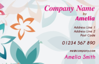 Multiple flowers in the background template for full colour business cards.