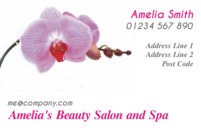 Business Card template that can be used by a florist. The business cards have a pink ochid in them.