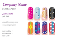 An attractive design on the business card featuring nail art for a nail technician or beauty salon.