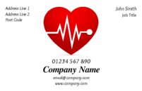 This is a simple business card design of a red heart with an ECG trace running through it to promote your business if you're in the health/medicine industry.