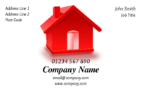 An eye catching image on this business card design of a bright red house would be ideal for anyone who deals in real estate or property or even a removals company.