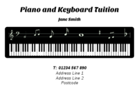 The image of the electric organ, make these business card templates suitable for musicians.