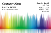 A funky business card design with lots of colours. This is quite a generic card and is often used by arts and crafts companies, musicians and fashion.