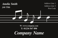 This business card template has an image of musical notes flowing through it, and could not be mistaken as a business card that belongs to a musician.