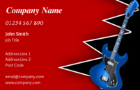 This is a striking business card design for a music instructor or guitarist.