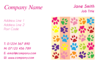 Multicoloured paw prints design on this business card make it a fun card promoting your pet grooming or pet training business.