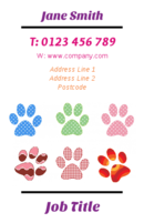 Not sure if these are dog or cat paw prints on the business card templates. But the image brings clarity to the business cards, and will help all you pet training and grooming professionals get your promo across to your customers.