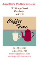 Business card designs for caterers and coffee shop owners.