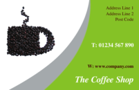 A business card template with a picture of a coffee cup, suitable for  for shopping, events, catering and the food industry.