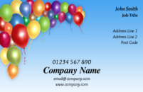 A fun filled business card design with colourful balloons for children's party organisers or event planners.