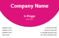 This is a simple business card template with a pink and white design that is eye catching.